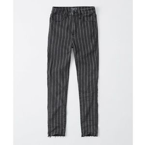 Pinstripe high rise super skinny ankle jeans